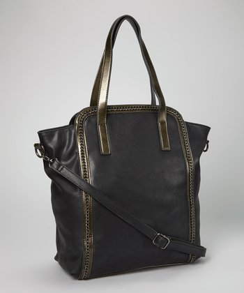 Black Chain Embellished Tote
