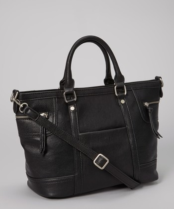 Black Double Zipper Tote