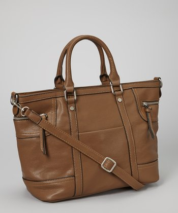 Dark Brown Double Zipper Tote