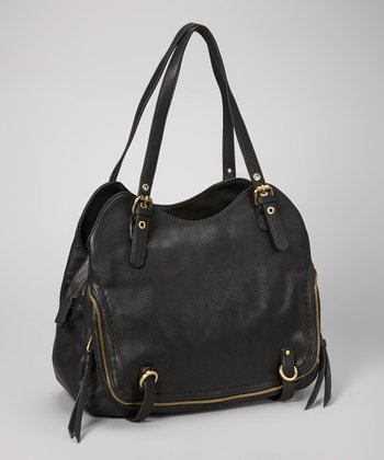Black Buckle Zipper Tote