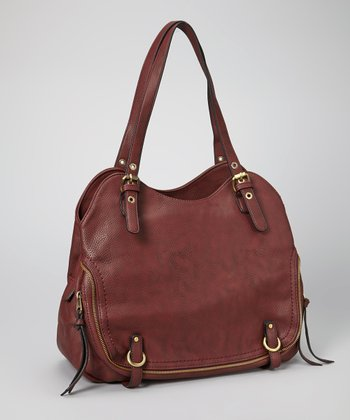 Red Buckle Zipper Tote