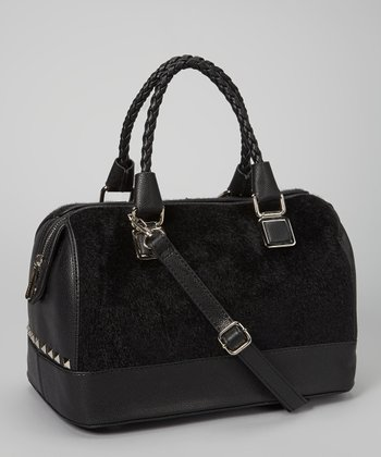 Black Plush Satchel