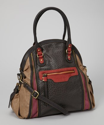 Brown & Red Pebbled Tote