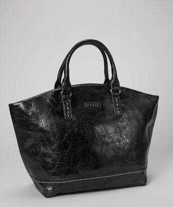 Black Distressed Topstitch Tote