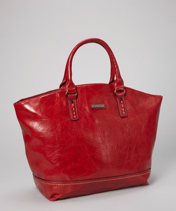 Bordeaux Distressed Topstitch Tote