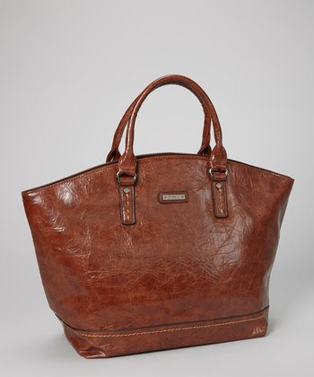 Brown Distressed Topstitch Tote