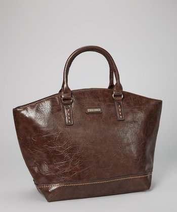Dark Brown Distressed Topstitch Tote