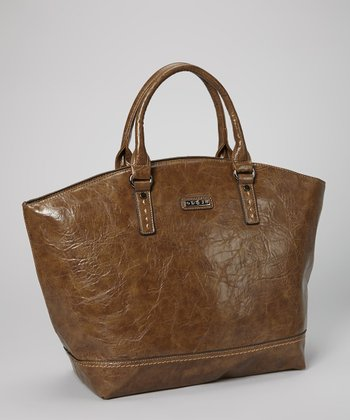 Camel Distressed Topstitch Tote