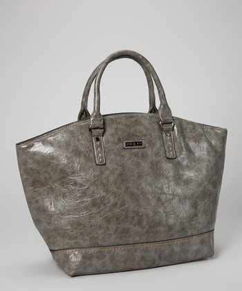 Gray Distressed Topstitch Tote