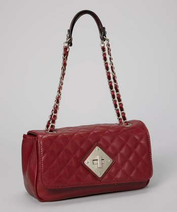 Plum Quilted Shoulder Bag