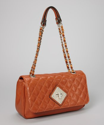 Cognac Quilted Shoulder Bag