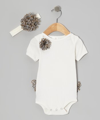 White Leopard Bodysuit & Headband - Infant
