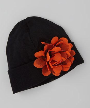 Black & Orange Flower Beanie