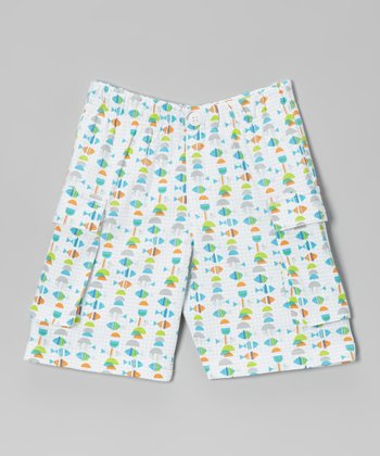 White Fishies Cargo Shorts - Toddler
