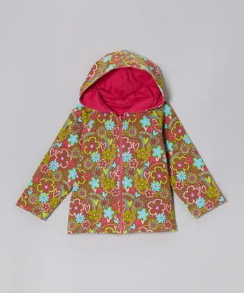 Chocolate & Pink Bramble Reversible Zip-Up Hoodie - Toddler
