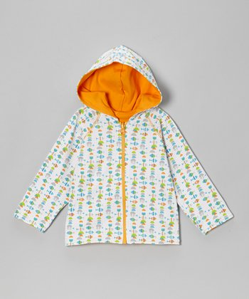 White & Orange Fishies Reversible Zip-Up Hoodie - Toddler