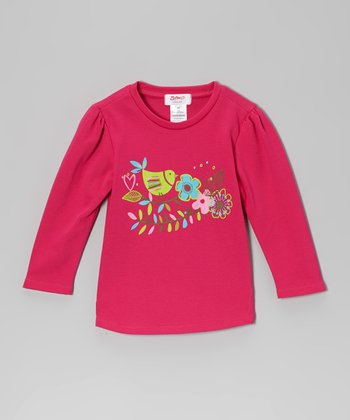 Fuchsia Bird Long-Sleeve Tee - Toddler