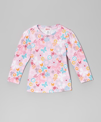 Pink Butterfly Long-Sleeve Tee - Toddler
