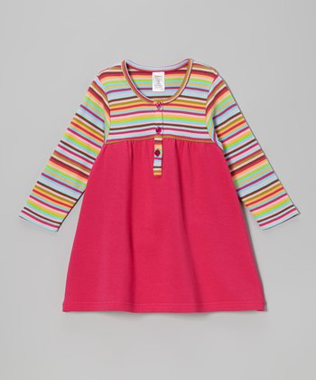 Pink & Lime Stripe Henley Dress - Toddler