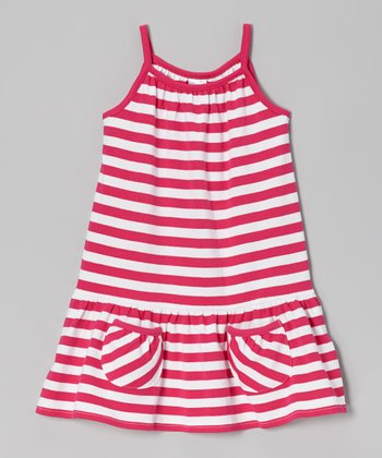 Fuchsia Stripe Pocket Dress - Toddler