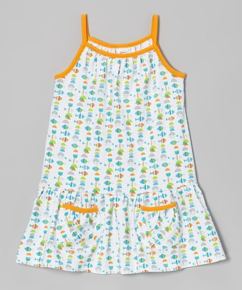 White Fishies Pocket Dress - Toddler