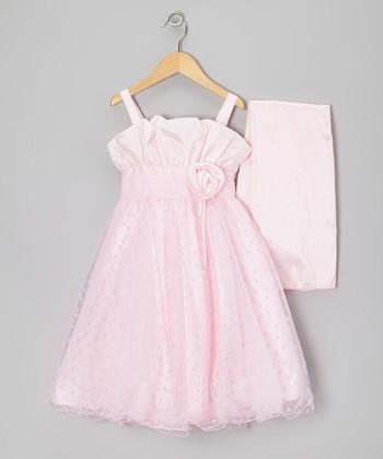 Pink Rosette Heart Dress & Wrap - Toddler & Girls