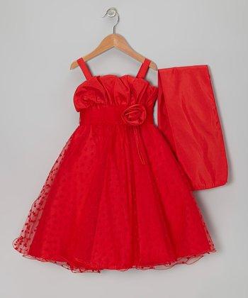 Red Rosette Heart Dress & Wrap - Toddler & Girls