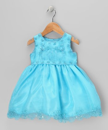 Turquoise Bead Embroidered Dress - Toddler