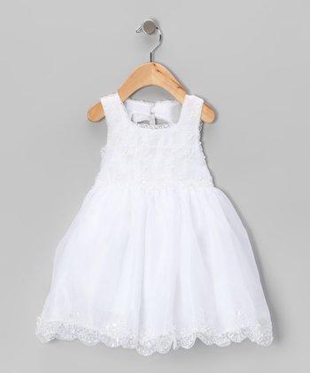 White Bead Embroidered Dress - Toddler & Girls