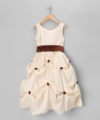 Cream & Brown Rosette Sash Dress - Girls
