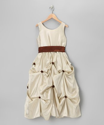 Taupe & Brown Rosette Sash Dress - Girls