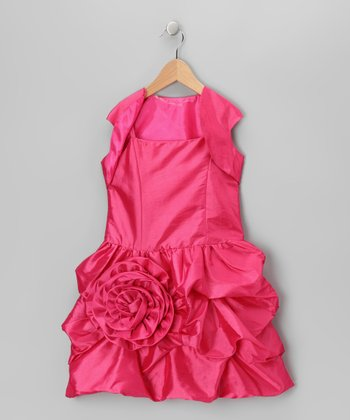 Fuchsia Bubble Dress & Shrug - Toddler & Girls