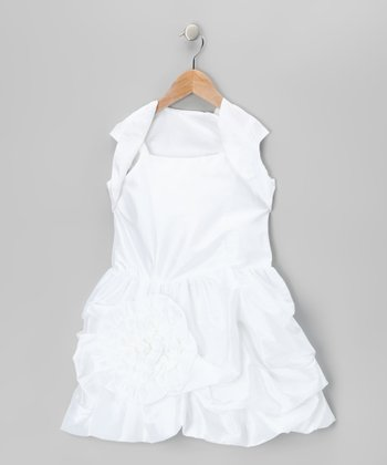 White Bubble Dress & Shrug - Toddler & Girls