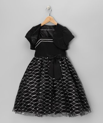 Black & White Bow Dress & Shrug - Toddler & Girls