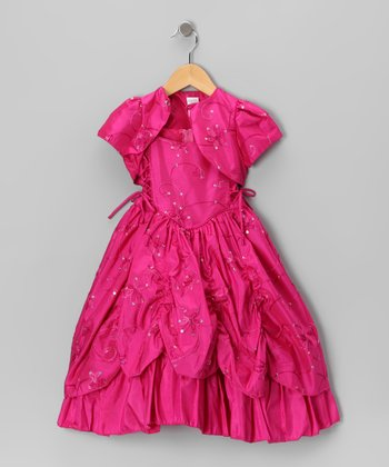 Fuchsia Embroidered Sequin Dress & Shrug - Toddler