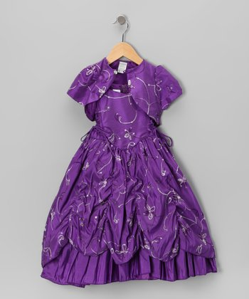 Purple Embroidered Sequin Dress & Shrug - Toddler & Girls