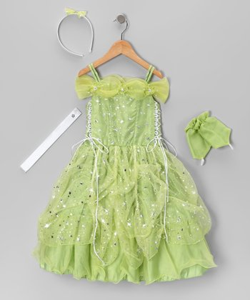 Lime Lace-Up Sparkle Star Dress Set - Toddler & Girls