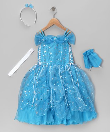 Turquoise Star Lace-Up Dress Set - Toddler & Girls