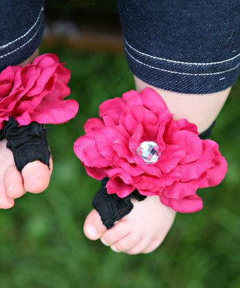 Hot Pink & Black Darling Diva Blooming Toes