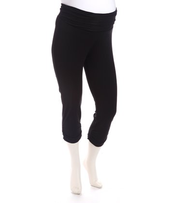 Black French Terry Maternity Capri