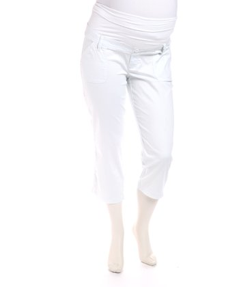 White Bedford Maternity Capri Pants