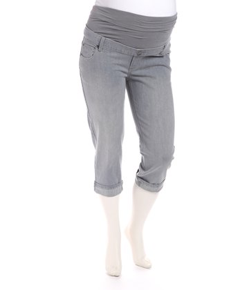Grey Denim Cuffed Maternity Capri Pants