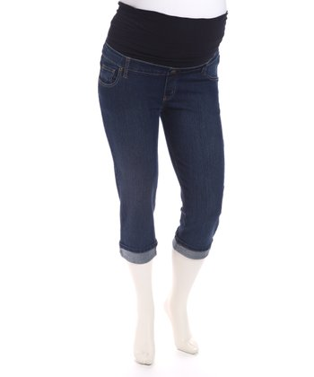 Rinse Denim Cuffed Maternity Capri Pants