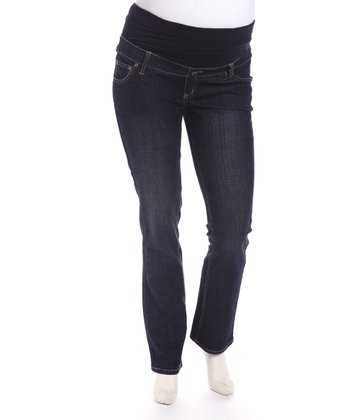 Dark Wash Straight-Leg Maternity Jeans