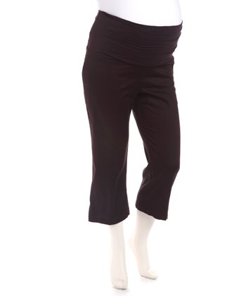 Brown Twill Maternity Capri Pants