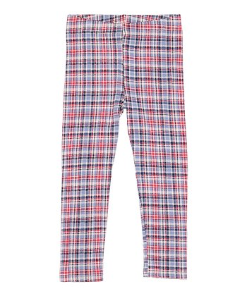 Pink & Blue Plaid Leggings - Toddler & Girls