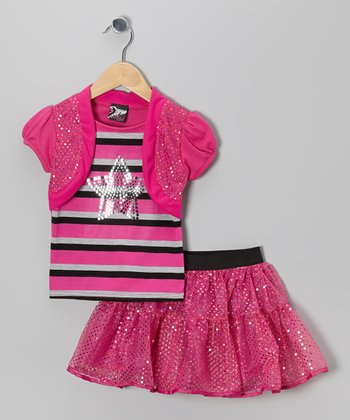 Pink Stripe Star Layered Top & Sequin Skirt - Toddler & Girls