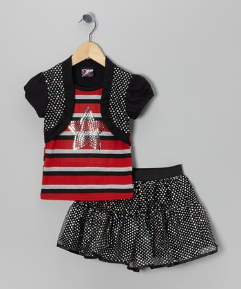 Red Stripe Star Layered Top & Sequin Skirt - Toddler & Girls