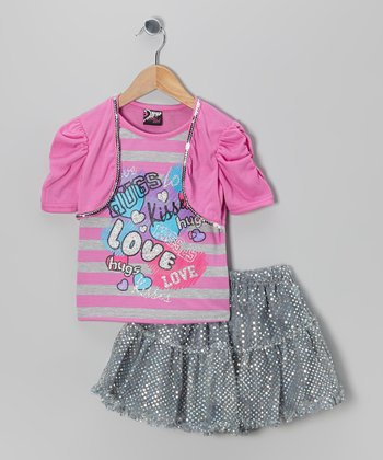 Fuchsia 'Love' Layered Top & Skirt - Toddler & Girls