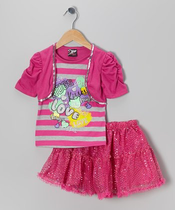 Pink 'Love' Layered Top & Sequin Skirt - Toddler & Girls